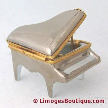 Platinum Mini Piano Limoges Boxes