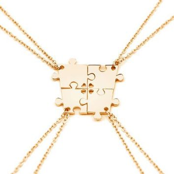 4 Pcs/Set Gold Silver Color Jigsaw Puzzle BFF Pendants With Hearts Necklace Family Necklace Best Friend Gifts