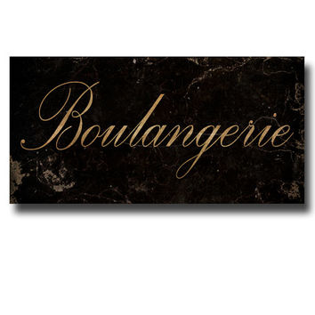 Canvas Wrap Sign, French Typography, Kitchen Wall Art, Rustic Home Decor, Black, Gold, 'Boulangerie', 10x20""