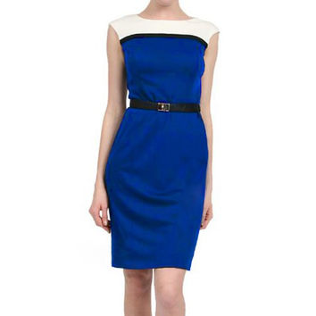 Blue Sleeveless Knee Length Dress
