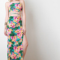 Tropical Floral Two-Piece Maxi Dress