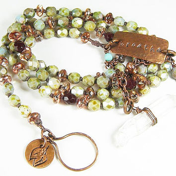 Gitano Raw Crystal Lariat Necklace with Faceted Czech Beads and Stamped Rustic Copper Yoga Charms, Breathe Necklace, Bohemian Jewelry