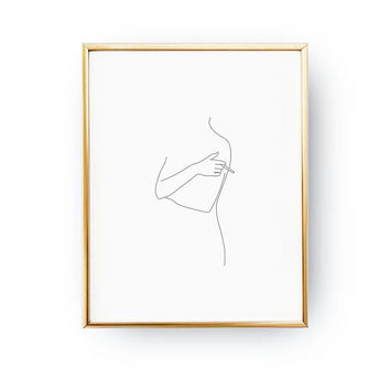 Woman Smoking Print,  Fine Naked Print, Black And White, Abstract Woman Body, Simple Fashion, Woman Art, Drawn Body, Sketch Art, Minimal Art
