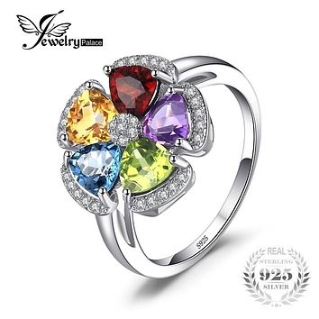 JewelryPalace Fower 2.6ct Natural Blue Topaz Amethyst Citrine Garnet Peridot Ring 925 Sterling Silver Gemstone Fine Jewelry 2017