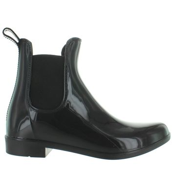 Kixters Jodith - Black Patent Pull-On Rubber Rain Boot