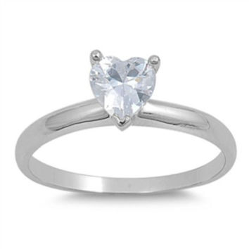 Sterling Silver CZ 1 carat Heart Engagement Ring size 4-9