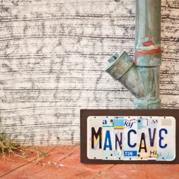 MANCAVE, OOAK License Plate Art, Dorm Room, Bachelor Pad, Retirement, Office decor, Birthday, fathers day gift,  unique graduation gift