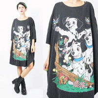 90s 101 DALMATIONS Tshirt Disney Movie Dog Print Tshirt Comfy Oversize Pajama Dress Soft Faded Black Tshirt Dress Cotton Plus SizeTee (XXL)