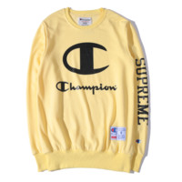Champion Autumn and winter new fashion letter print sweater round neck sweater top Yellow