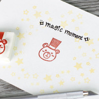 teddy bear stamp, magician stamp, magic rubber stamp, bear rubber stamp, party entertainment, birthday party, baby bear, hat rubber stamp