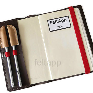 Leather Moleskine Cover, Journal Cover,  A5 Cover, Leather Notebook Cover with Red Elastic Band, Hand Stitched,  Italian Leather