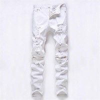 Men Ripped Holes Casual Slim Stretch Club Pants [6541854083]