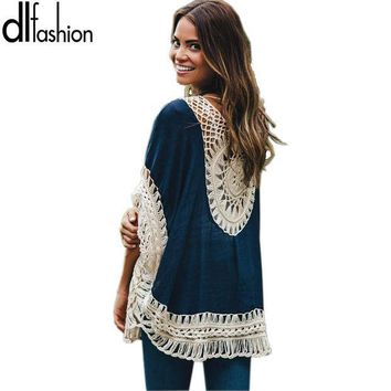 CREYET7 Big size bohemian handmade crochet lace women blouses shirts beach cover up patchwork loose batwing sleeve pareos ladies blouse