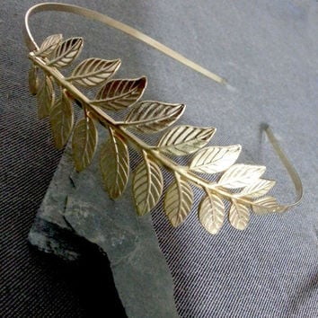 Bridal Hair Accessories ,Wedding Bridal Hair Piece ,Grecian Goddess Headband ,Grecian Leaf Greek  Goddess, Gold Leaf Tiara