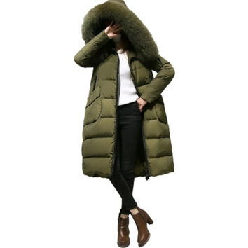 2017 New Winter Women Coat Fashion Super Large Fur Collar Hooded Coat Medium Long Down Jacket Thick Warm Winter Down Coat SK178