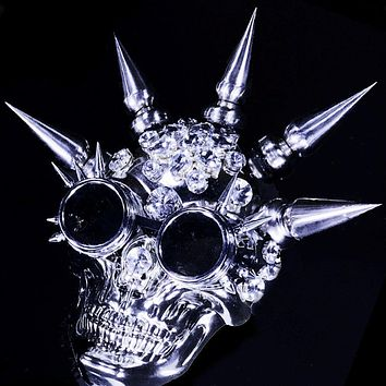 Rivets and Rhinestones Skull Couture Mask with Goggles