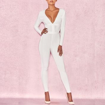 Long Sleeve Plunge Neck White Bandage Jumpsuit