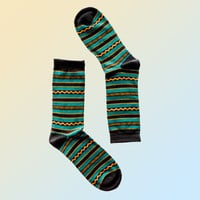 Geo Pattern Crew Sock -Green