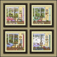 The Four Seasons Set 10x10 inch Watercolor Prints by JZLcreates
