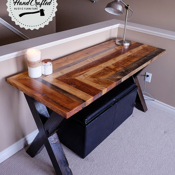 Rustic Desk - Wood desk - Reclaimed Desk- Custom sizes - Custom Desk - Hand Crafted- X Base