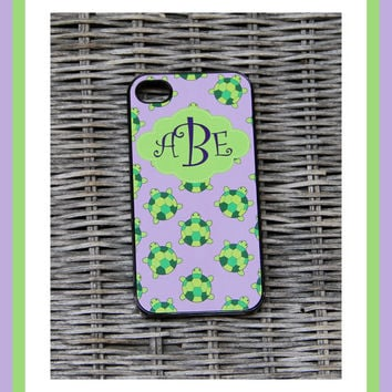 Sea Turtles Personalized iPhone Case, Monogrammed iPhone Case, Monogram iPhone Case, Custom iPhone Case, iPhone, iPhone 4 Case, iPhone 5