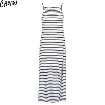 Women Monochrome Stripe Print Open Back Split Side Casual Beach Maxi Dress 2016 New Summer Spaghetti Strap Long Dresses Clothing