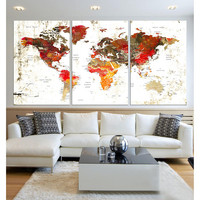 Push Pin world map canvas wall art 3 panel Extra large wall art travel world map with country name modern office wall decor, framed  hr89