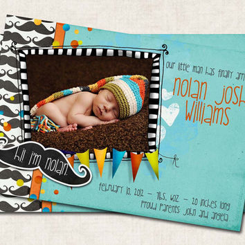 Baby Boy Birth Announcement Thank You, Shower, mustache, Digital File