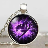 Fairy Tail Purple Wing Logo Anime Necklace