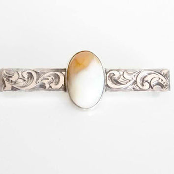 Vintage Agate Bar Pin - Sterling Silver Lapel Pin - Engraved Tie Pin - Polished Stone Brooch - Mens Antique Tie Pin - Natural Agate Brooch