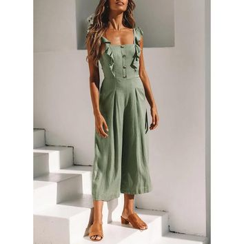 2018 Summer new arrives linen romper women Wide leg pants jumpsuits for womens Fashion ruffle sleeve button overalls outfit