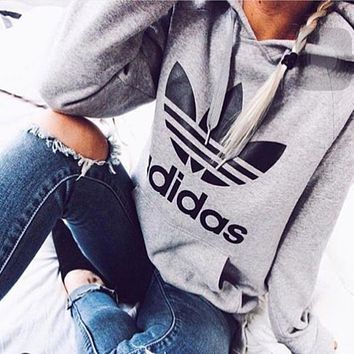 "Fashion ""Adidas"" Print Hooded Pullover Tops Sweater Sweatshirts Light grey"