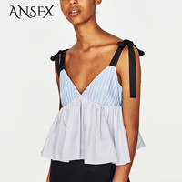 ANSFX Sexy Striped Camis Backless Deep V-Neck Pullover Lacing up Tied Bow Sleeveless Cute Women Pleated Hem Top Brand SY17-05-17