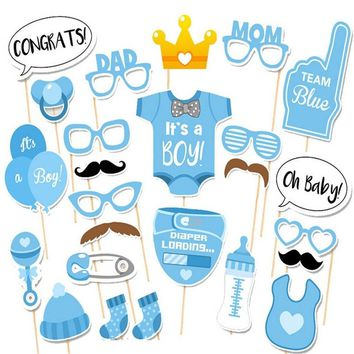 Photo Booth 25pcs Baby Shower Props Its A Boy/Girl  Fun 1st Birthday Party Favor Decoration PhtotoBooth Mustache Centerpieces