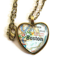 Boston Map Necklace Heart Pendant by JewelrybyJakemi on Etsy