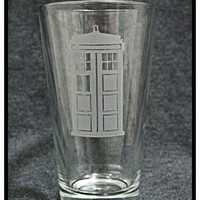 Dr Who Inspired Tardis Pint Glass
