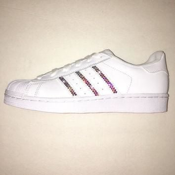 Bling Adidas with Swarovski Crystals * Women's Original Superstar Shoes Bedazzled w/ A
