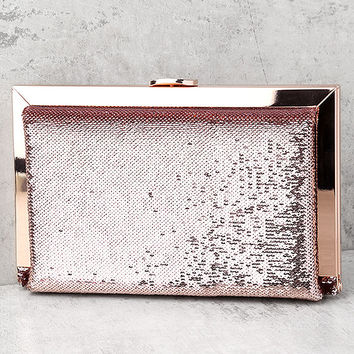 Charm and Desire Rose Gold Sequin Clutch
