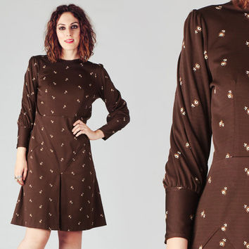 60s Brown Embroidered Dolman Sleeve Dress / Mod Floral Dark Brown Dress / Pleated Autumn Cute Dress