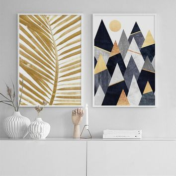 Nordic Minimalist Geometric Canvas Posters Prints Palm Leaf Letters Painting Wall Art Picture for Living Room Cuadros Decoracion
