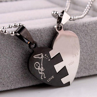 BEST His and Hers Stainless Steel Love Heart Lover Couple Pendant Necklace Gift