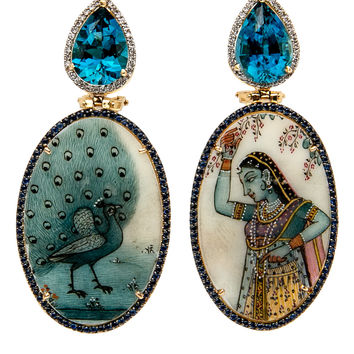 India Peacock Earrings