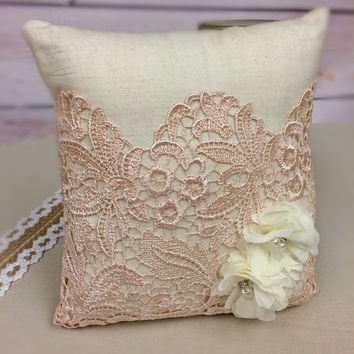 Wedding Pillow, Wedding, Blush Ring Pillow, Shabby, Rustic, Vintage, Bride, Wedding Rings, Ring, Pillow, Ringbearer, Vintage, Ring Pillow
