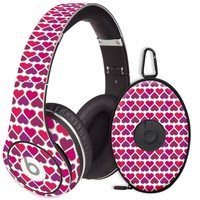 Hearts White Decal Skin for Beats Studio Headphones & Carrying Case by Dr. Dre