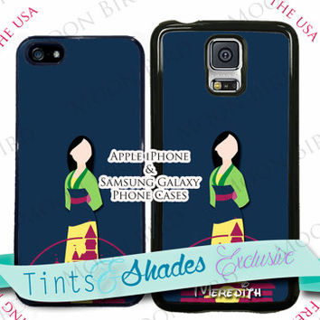New! Disney Castle Mulan Personalized with Name Phone Case For Samsung Galaxy Note 4 S3 S4 S5 Available Plastic or Rubber Phone Case