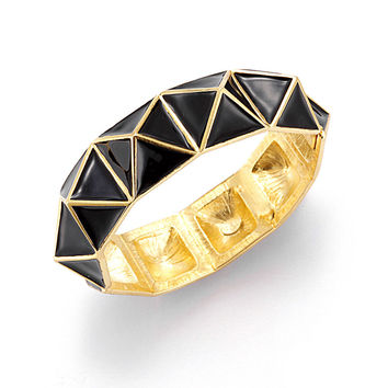 Kenneth Jay Lane Pyramid Bangle Bracelet Black Enamel