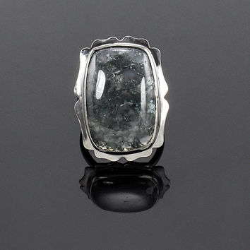 925 Sterling Silver Natural Moss Agate Cushion Cabochon Ring