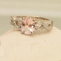 Pink Peach Sapphire Infinity Engagement Ring Wedding Ring Anniversary Ring Bridal Ring