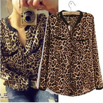 The Latest European and American leopard print chiffon shirt Slim primer shirt