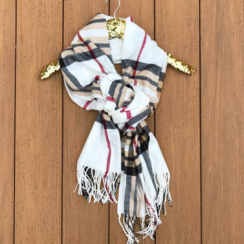 Harley Plaid Long Fringe Scarf